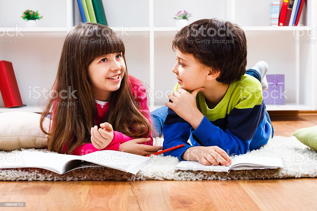 Children talking stock photo