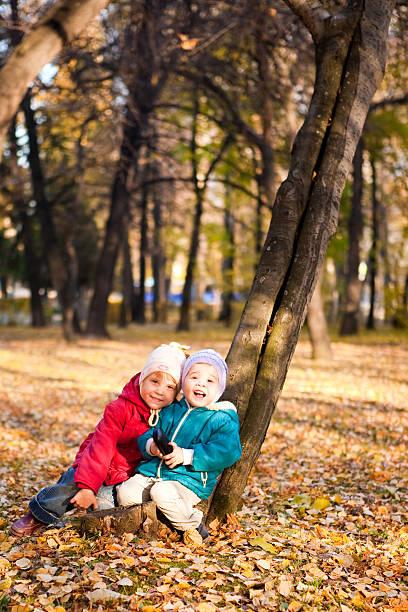 Children throw autumn leaves stock photo