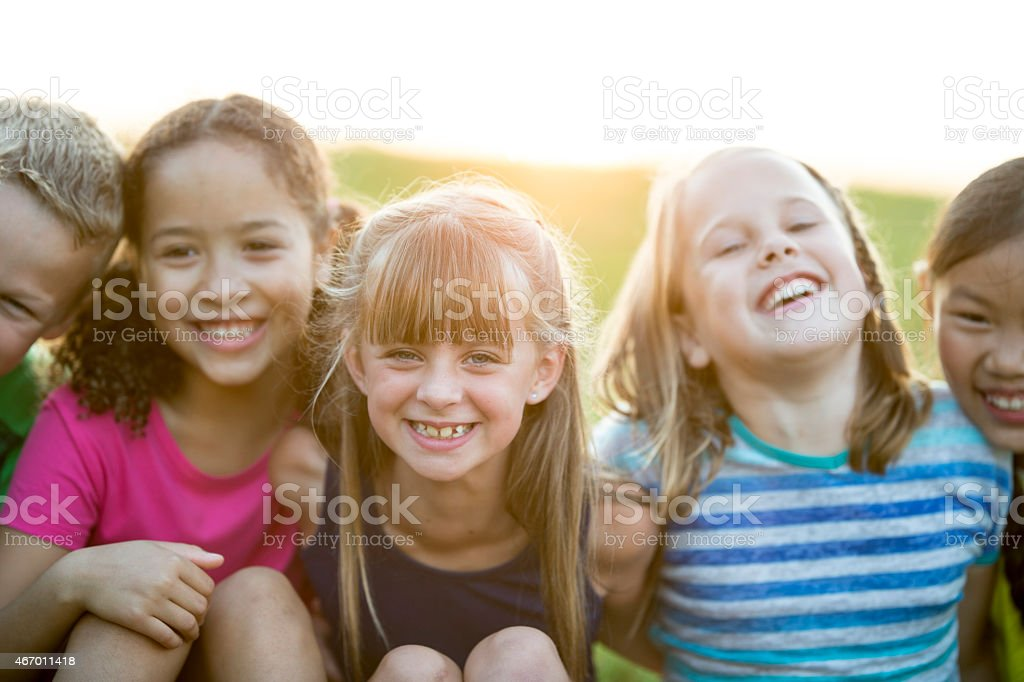 Children Together Outdoors stock photo