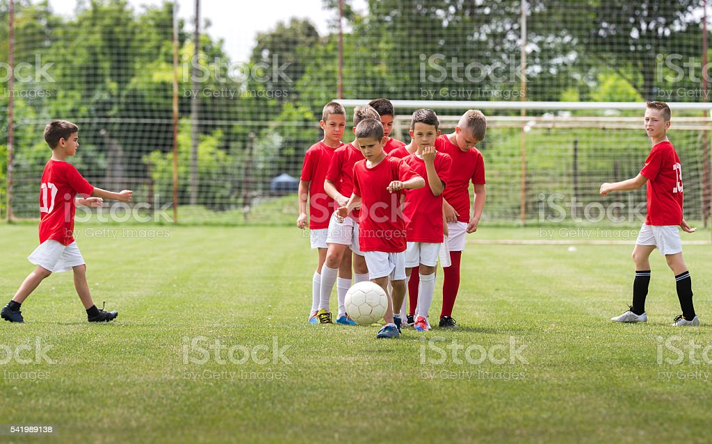 Children Training Soccer stock photo