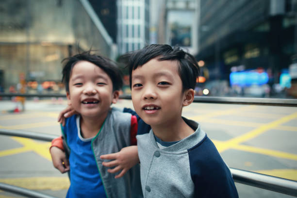 Children travel in Hongkong stock photo
