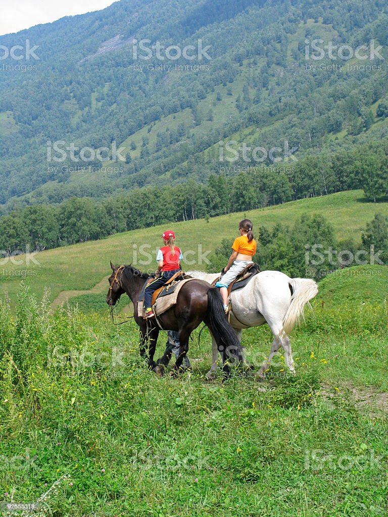Children traveling in Altay mountains stock photo