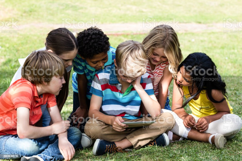 Children using digital tablet royalty-free stock photo