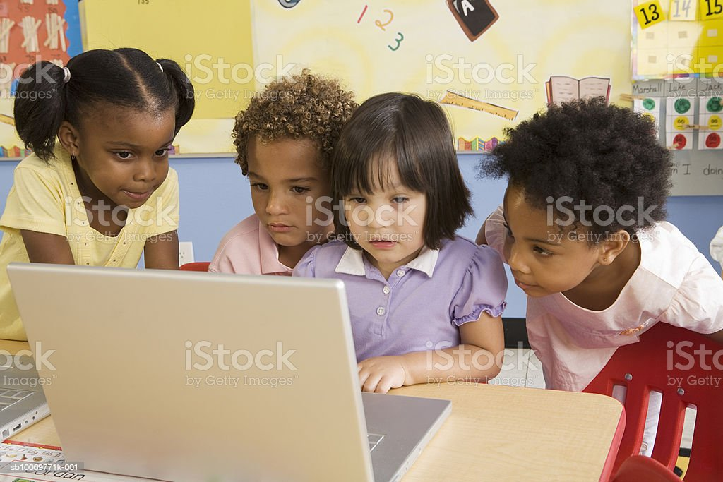 Children (2-5) using laptop royalty-free stock photo