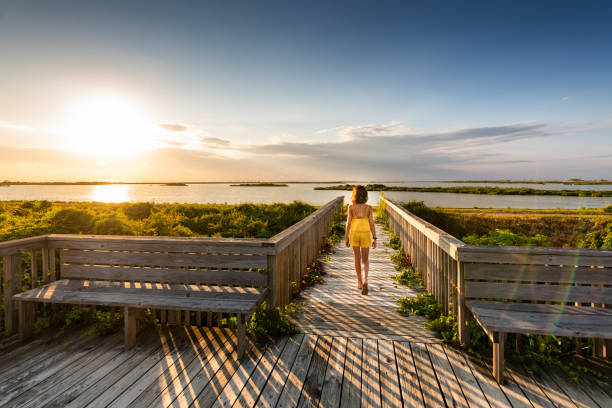 Children visiting Pea Island Outer Banks stock photo