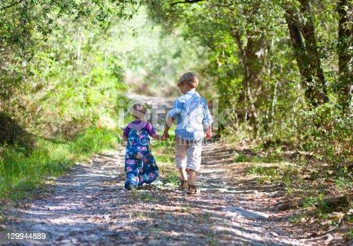 135384905 istock photo Children walking hand-in-hand outdoors 129944889