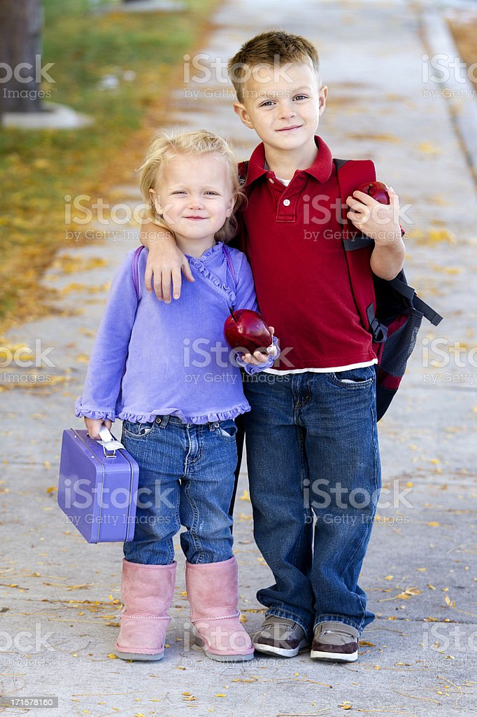 Children Walking to school royalty-free stock photo