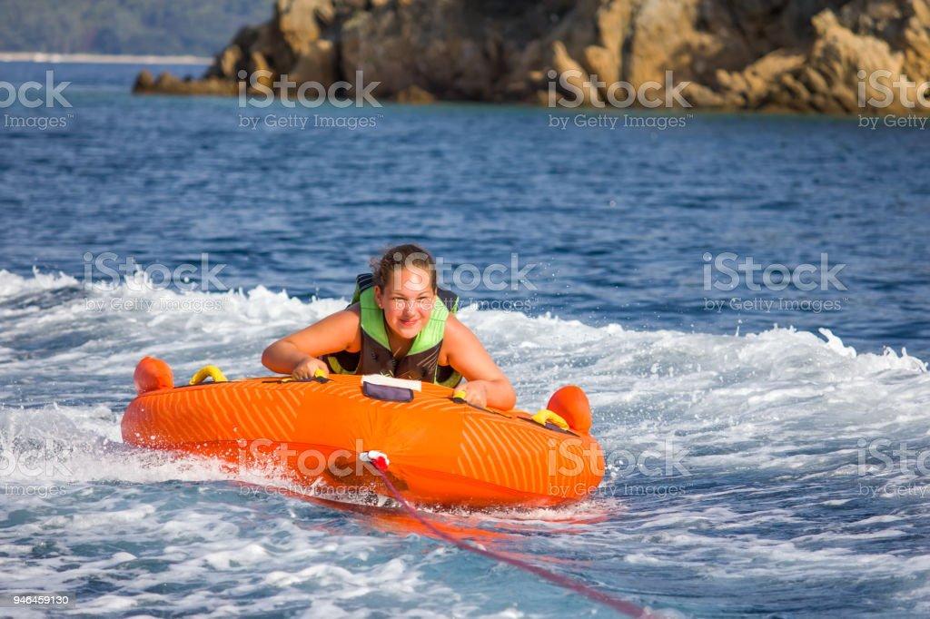 Children water sport adventure on the sea stock photo