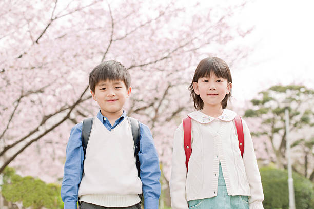 Children who carry a schoolchild's satchel on its back Person japanese school girl stock pictures, royalty-free photos & images
