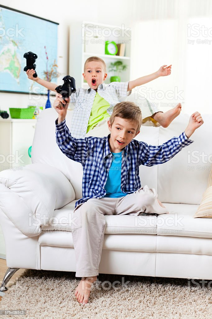 Children winning in video games royalty-free stock photo