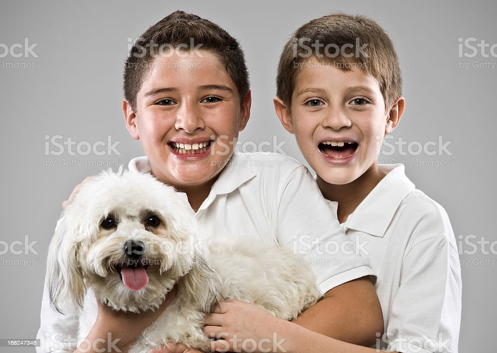 Children with a dog royalty-free stock photo