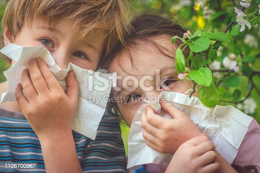 629307146istockphoto Children with allergy in spring park cleaning noses 1126700967