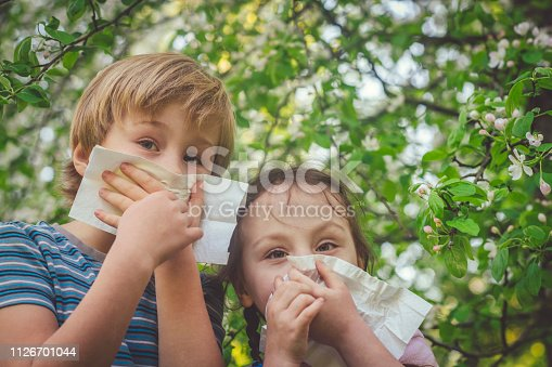 629307146istockphoto Children with allergy in spring park cleaning noses 1126701044