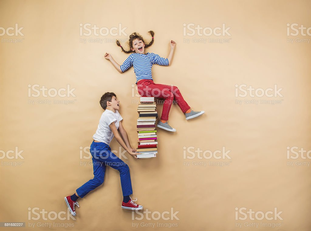 Children with books stock photo