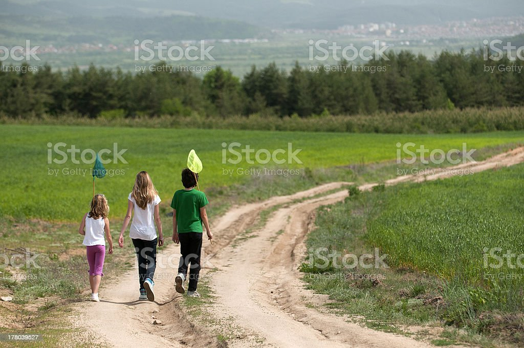 Children with butterfly nets stock photo
