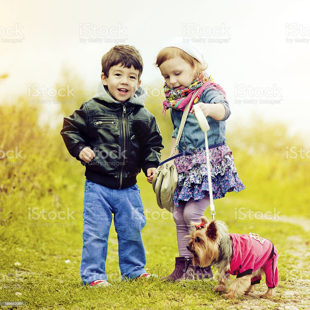 Children with dog royalty-free stock photo