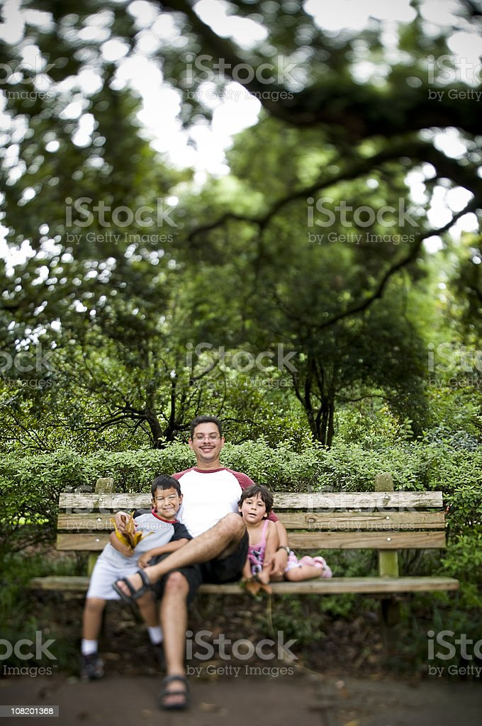 Children with Father Outside at Park royalty-free stock photo