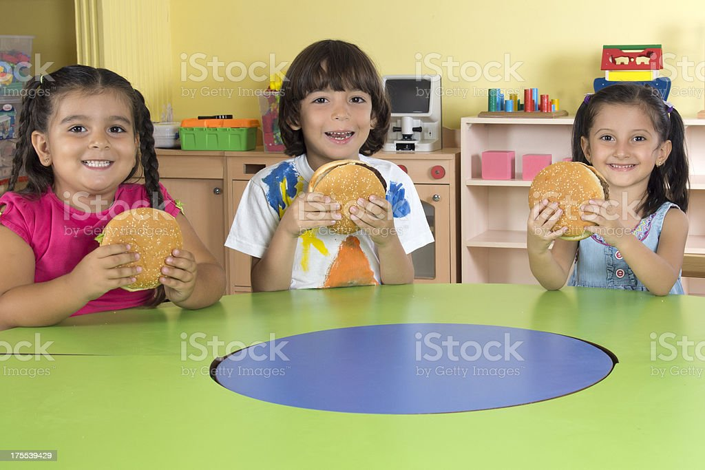Children With Hamburgers royalty-free stock photo