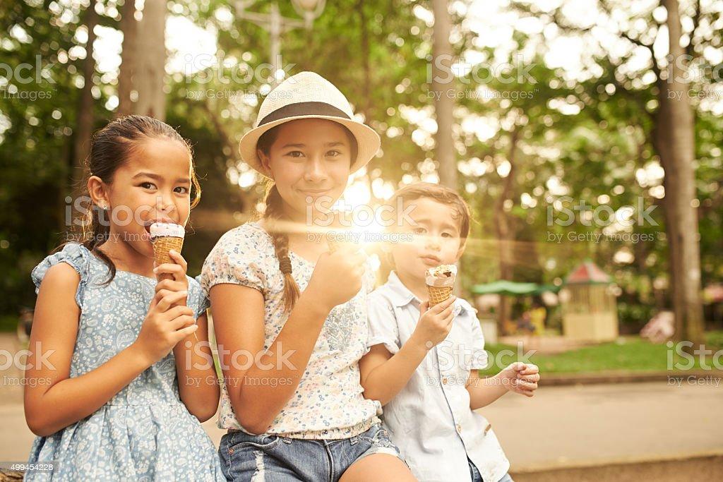 Children with ice-creams stock photo