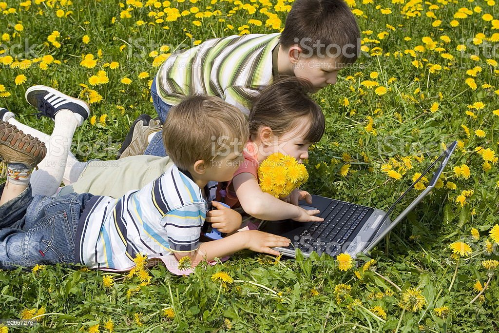 Children with laptop royalty-free stock photo