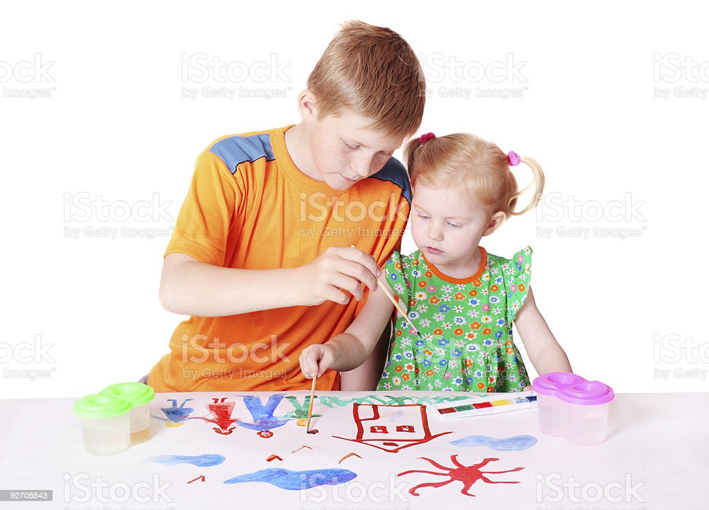 children with paint isolated on white royalty-free stock photo
