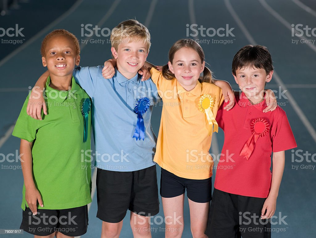 Children with rosettes royalty-free stock photo