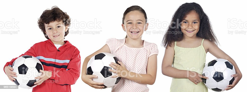 children with soccer ball royalty-free stock photo