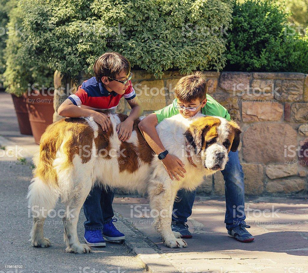 children with st. bernard dog royalty-free stock photo