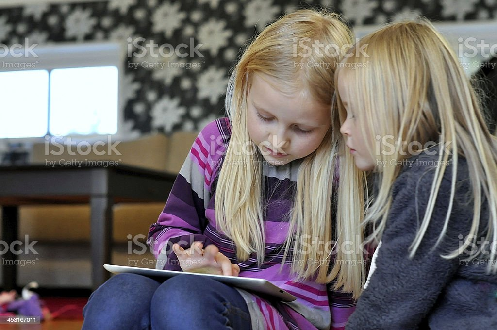 Children with tablet royalty-free stock photo