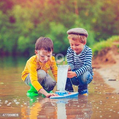 506991764istockphoto Children with toy ship 477356828