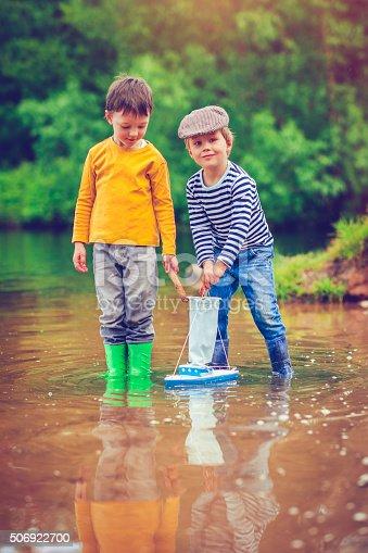 506991764istockphoto Children with toy ship 506922700
