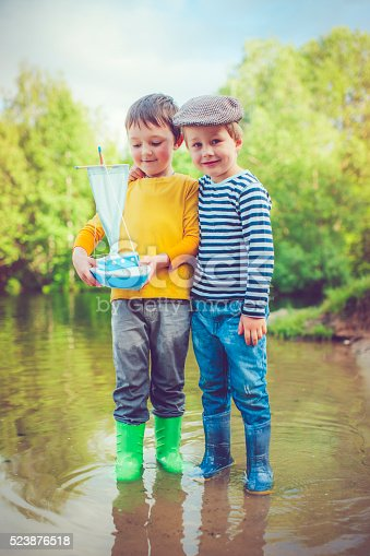 istock Children with toy ship 523876518