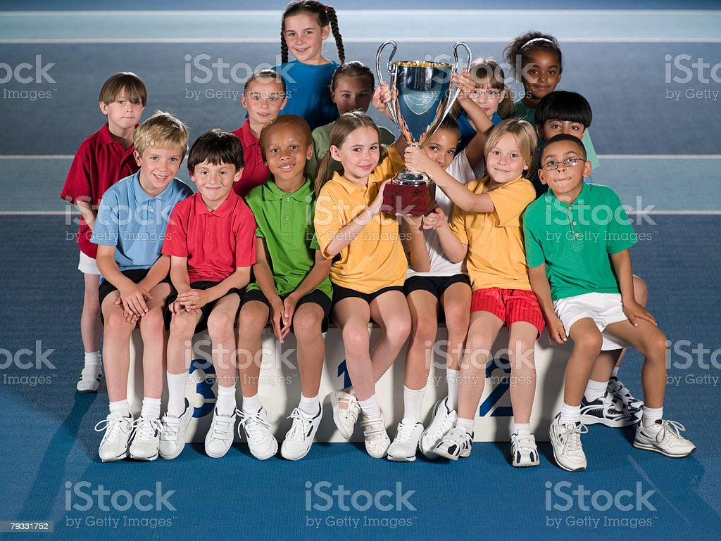 Children with trophy royalty-free 스톡 사진