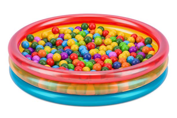 Piscine à balles pour enfants avec des boules colorées, 3D rendering isolé sur fond blanc - Photo