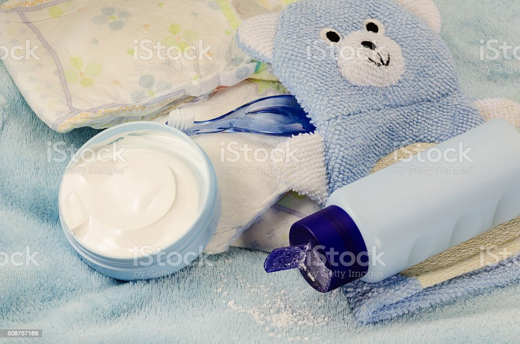 children's bath products and hygiene items closeup stock photo