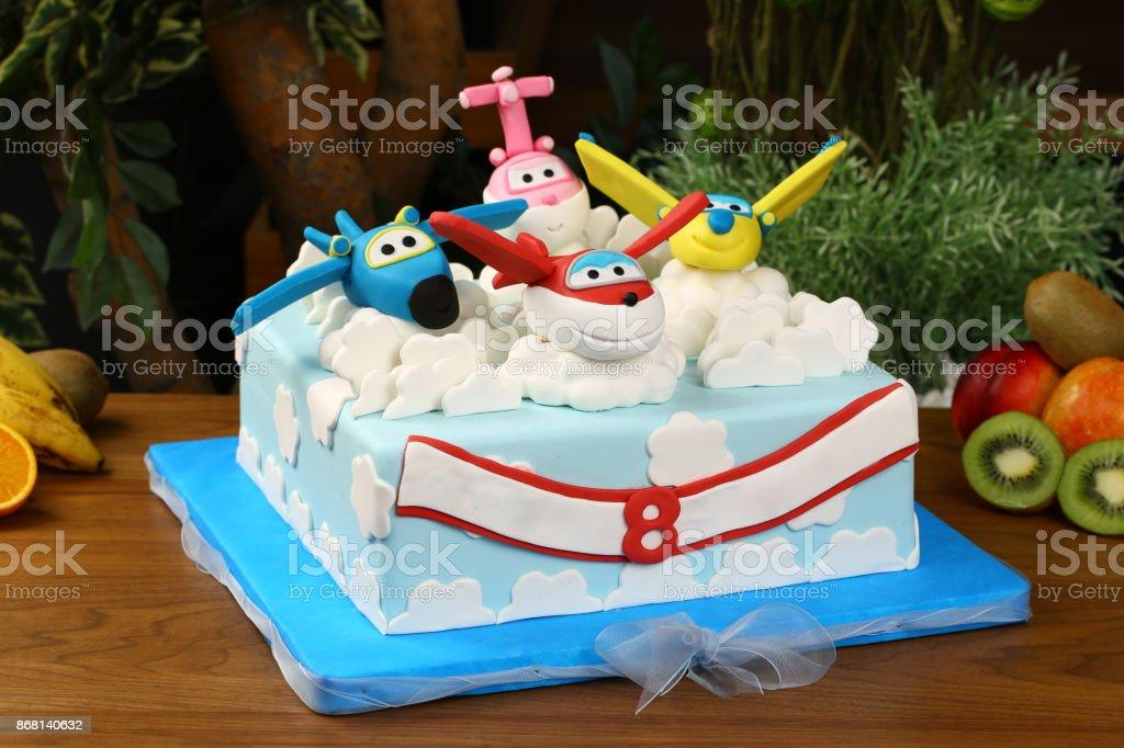 Awesome Childrens Birthday Cake Airplane Figure Stock Photo Download Funny Birthday Cards Online Necthendildamsfinfo