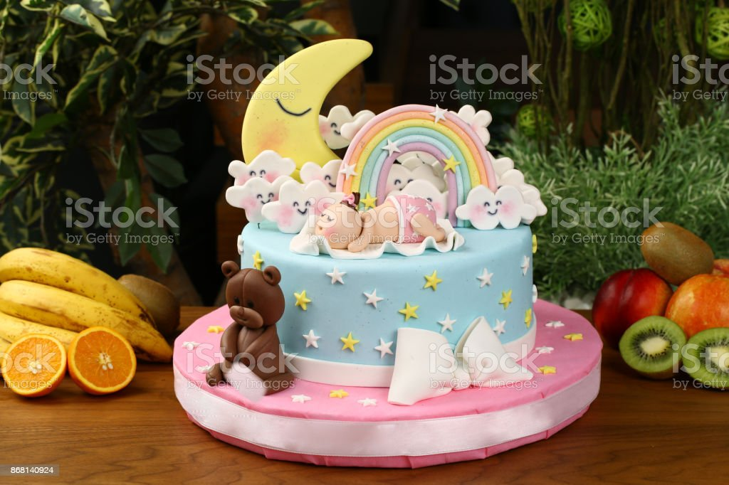 Fantastic Childrens Birthday Cake Baby Sleeping On Clouds Stock Photo Funny Birthday Cards Online Unhofree Goldxyz
