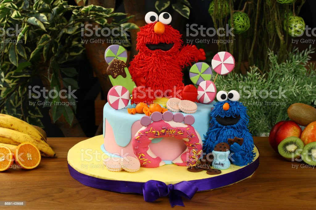 Outstanding Childrens Birthday Cake Cookie Monster Decorated Stock Photo Funny Birthday Cards Online Unhofree Goldxyz