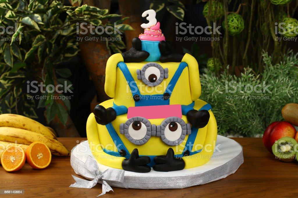Fantastic Childrens Birthday Cake Minion Figure Stock Photo Download Image Funny Birthday Cards Online Elaedamsfinfo