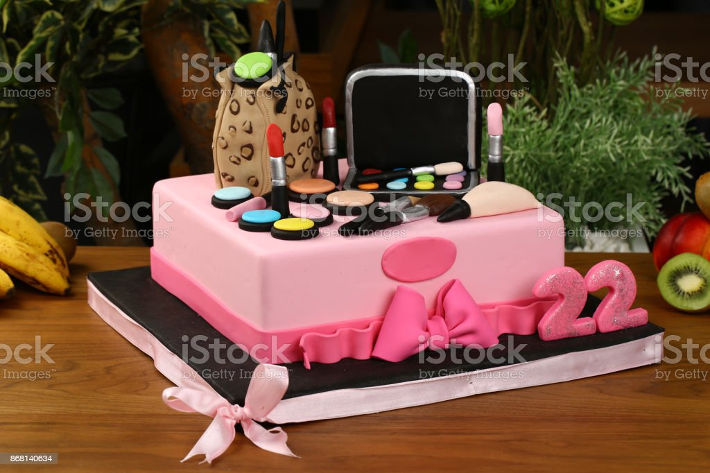 Childrens Birthday Cake With Make Up Kit Stock Photo More Pictures