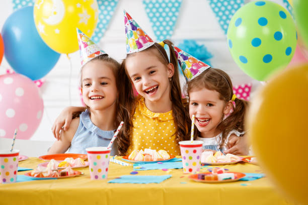 children's birthday. happy kids with cake - happy birthday stock pictures, royalty-free photos & images