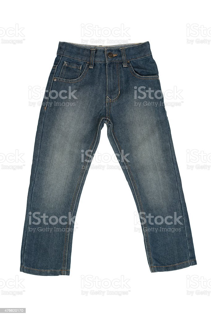 Children's blue stone washed jeans isolated on white background stock photo