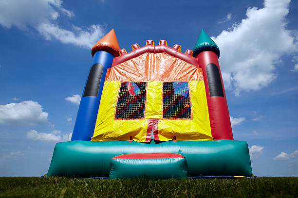 Childrens Bouncy Castle Inflatable Jumping Playground stock photo