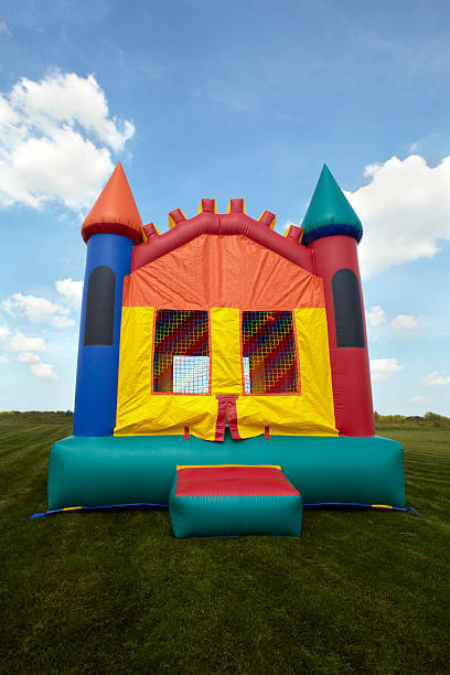 Children's Bouncy House Inflatable Jumping Playground stock photo