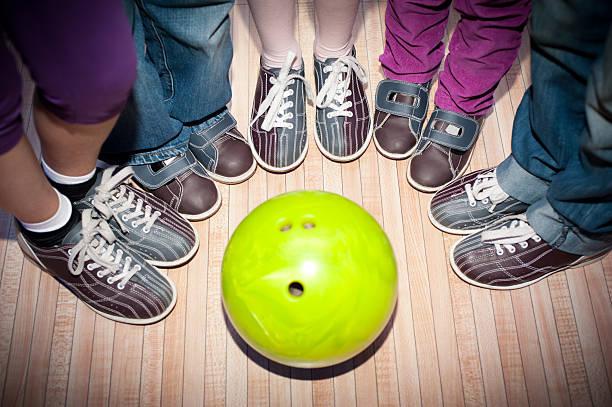 Children's bowling stock photo
