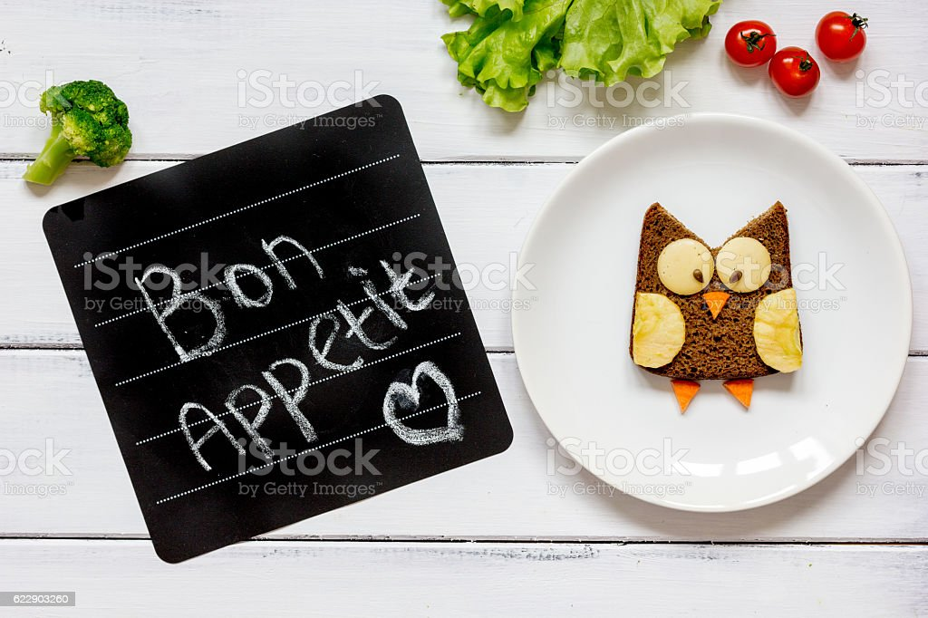 children's breakfast owl shaped sandwich bon appetit stock photo