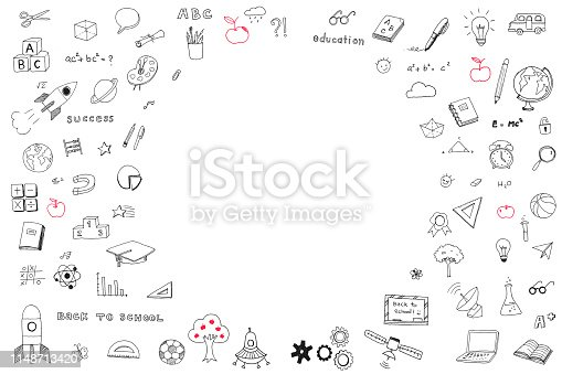istock Children's childhood creative idea and school education success concept with student's hand drawing doodle on white wall background with blank copyspace 1148713420