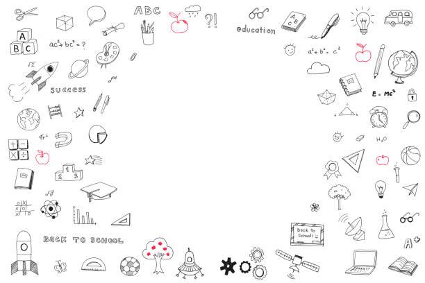 childrenâs 空白の copyspace と白い壁の背景に落書き studentâs 手で子供の頃創造的なアイデアと学校教育の成功の概念 - illustrations or vector ストックフォトと画像