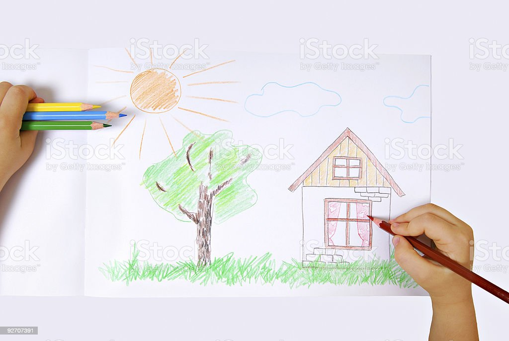 Children's colored illustration of the happiness life stock photo