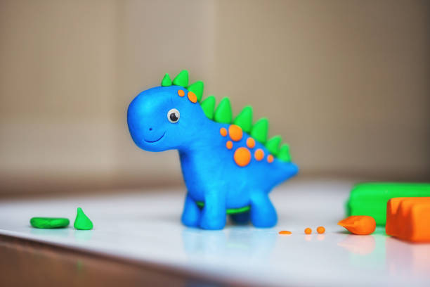 children's creativity. figurine of plasticine. toy animal dinosaur children's creativity. figurine of plasticine clay stock pictures, royalty-free photos & images